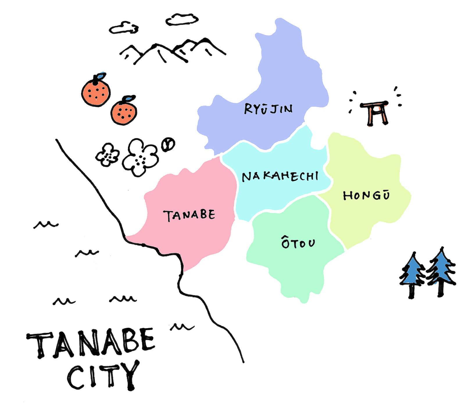 田辺市のエリア地図