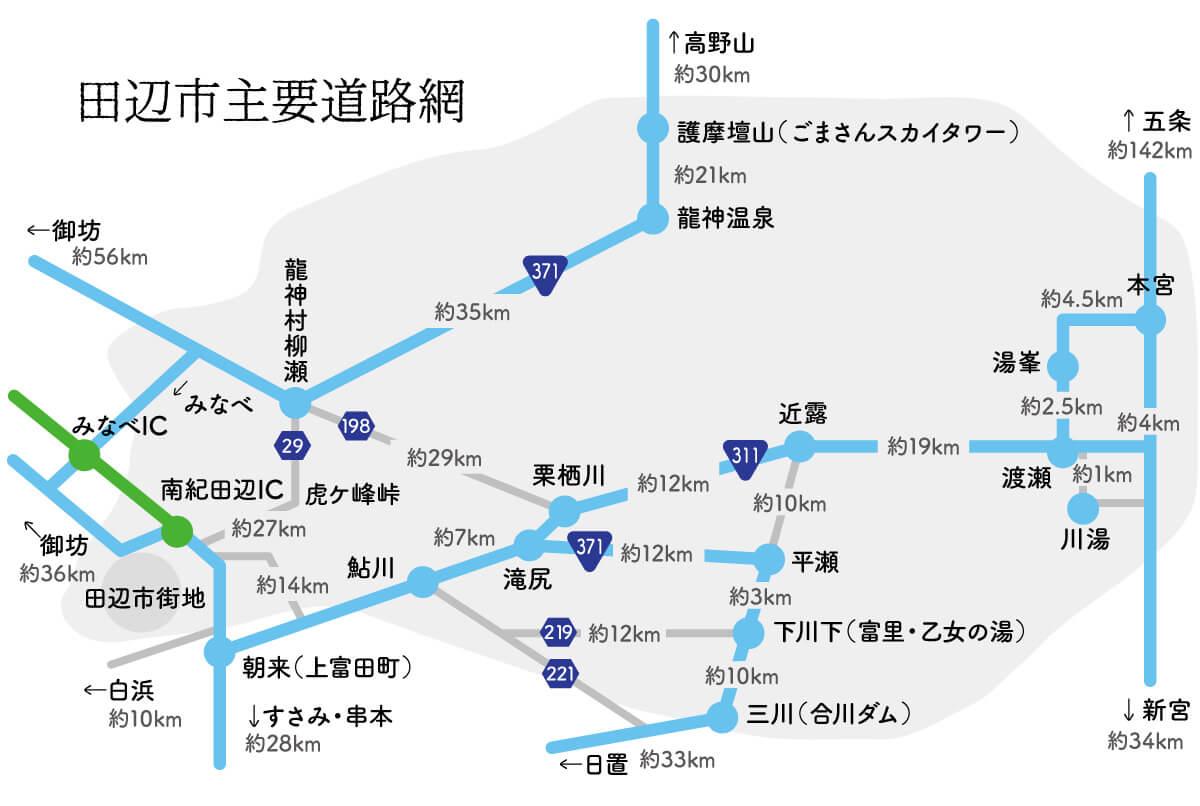 田辺市主要道路網
